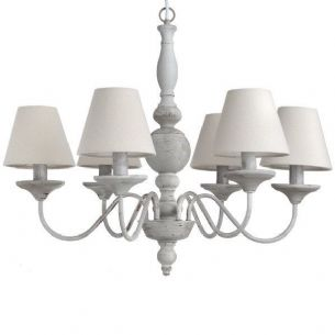 Shabby Grey Chic Metal 6 Arm Chandelier with Shades Ceiling Light Gray w Bulbs